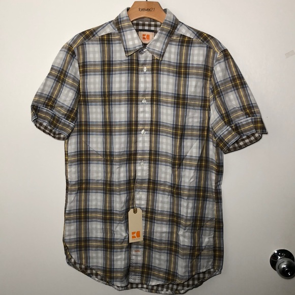 e02a1fc0343b Hugo Boss Orange Plaid Button SS Men s Medium